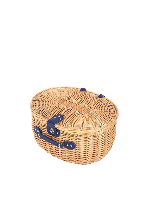Sherwood Home Adelaide Natural Oval Wicker Picnic Basket 4 People