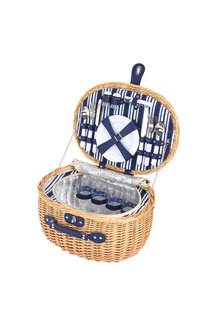 Sherwood Home Adelaide Natural Oval Wicker Picnic Basket 4 People - 296960