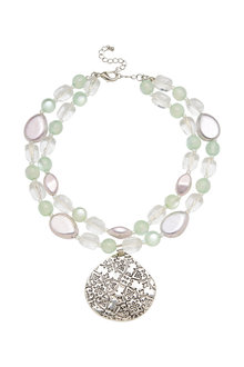 Amber Rose Embellished Teardrop Necklace - 297070