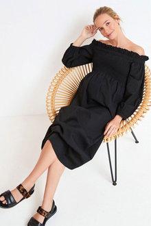 Next Maternity Shirred Bardot Midi Dress - 297297