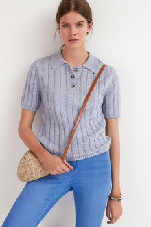 Next Short Sleeve Polo Knitted Top - 297619