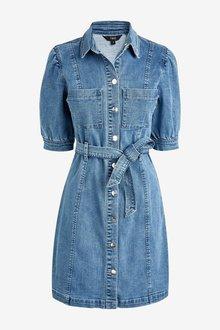 Next Puff Sleeve Soft Stretch Fitted Denim Dress - 297670