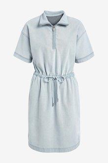 Next Jersey Denim Drawcord Waist Dress - 297690