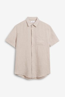 Next Linen Blend Short Sleeve Shirt - 298110