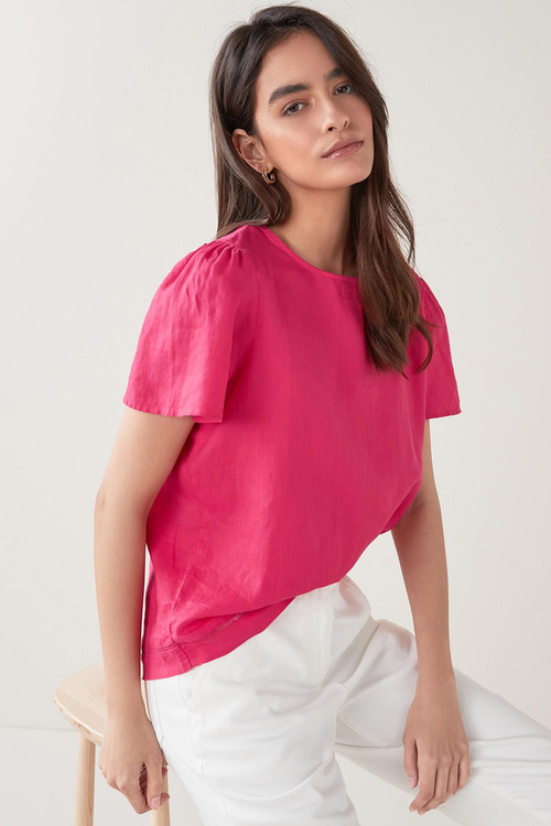 Next Linen T-Shirt-Petite