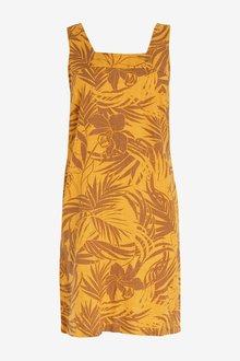 Next Linen Blend Square Neck Dress-Petite - 298873