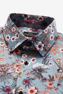 Next Signature Floral Print Shirt-Slim Fit Single Cuff - 298886