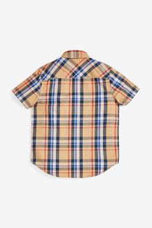 Next Short Sleeve Spliced Checked Shirt (3-16yrs) - 299338