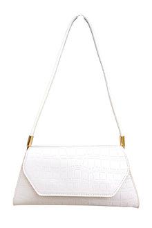 The Product Room Elise Crocodile Pattern Handbag Ivory - 299583