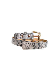 The Product Room Snake Print Square Buckle Belt Champagne - 299584