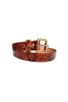 The Product Room Snake Print Square Buckle Belt Caramel - 299587