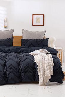 Dreamaker Cotton Vintage Washed Tufted Quilt Cover Set - 300661