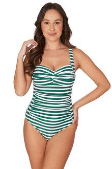 Nip Tuck Swim Green Quarterdeck Joanne Twist Front Design Tummy Control One Piece Swimsuit - 300745
