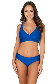 Nip Tuck Swim Omega Blue Louise Cross Over Design Tummy Control Bikini Set Swimsuit - 300747