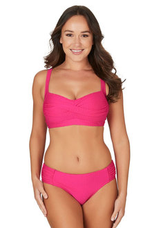 Nip Tuck Swim Omega Pink Joanne Twist Front Design Tummy Control Bikini Set Swimsuit - 300750