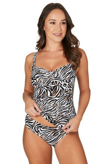 Nip Tuck Swim White Reptilian Joanne Twist Front Design Tummy Control Tankini Set Swimsuit - 300764