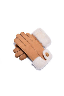 Comfort Me UGG Sheepskin Leather Suede Button Gloves - 300915