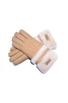 Comfort Me UGG Sheepskin Leather Double Cuff Gloves Womens Cora - 300918