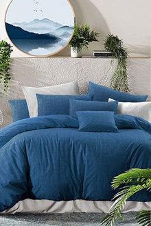 Amsons Nautical Twilight Cotton Quilt Cover Set Textured Print - 302797