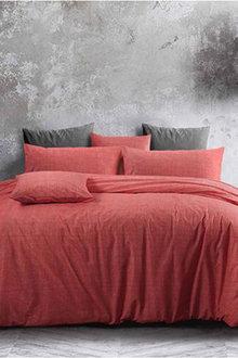 Amsons Cotton Quilt Cover Set Textured Print Living Coral - 302801