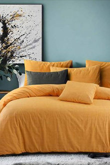 Amsons Raw Amber Cotton Quilt Cover Set Textured Print - 302803