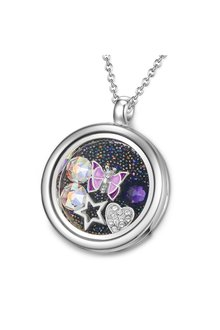 Mestige Butterfly Dance Floating Charm Necklace with Swarovski® Crystals - 303579