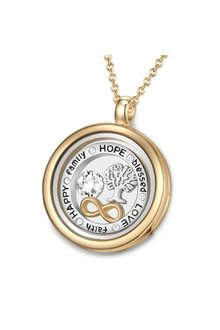 Mestige Gold Words of Love Floating Charm Necklace with Swarovski® Crystals - 303580