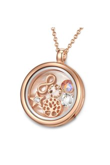 Mestige Rose Gold Timeless Tree of Life Floating Charm Necklace with Swarovski® Crystals - 303581