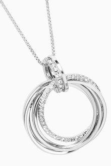 Next Pave Circle Pendant Midi Necklace - 309039