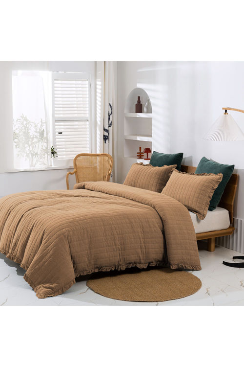 Dreamaker Premium Quilted Sand Wash Quilt Cover Set - Rust