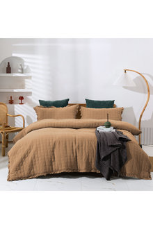 Dreamaker Premium Quilted Sand Wash Quilt Cover Set - Rust - 310664