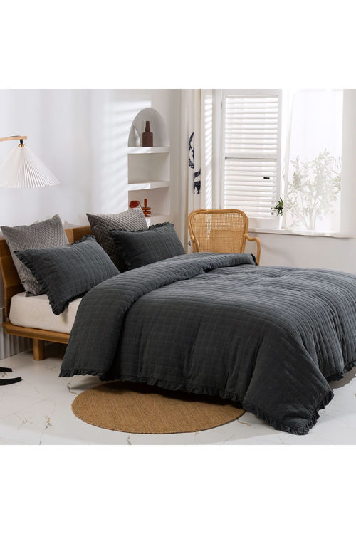 Dreamaker Premium Quilted Sand Wash Quilt Cover Set - Charcoal