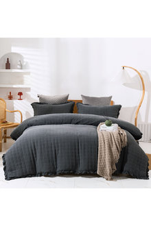 Dreamaker Premium Quilted Sand Wash Quilt Cover Set - Charcoal - 310666