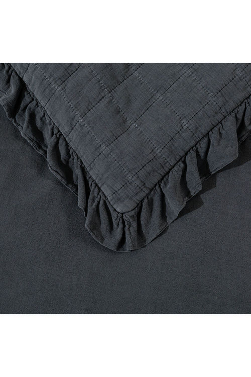 Dreamaker Premium Quilted Sand Wash Coverlet - Charcoal