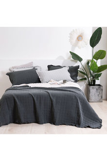 Dreamaker Premium Quilted Sand Wash Coverlet - Charcoal - 310667