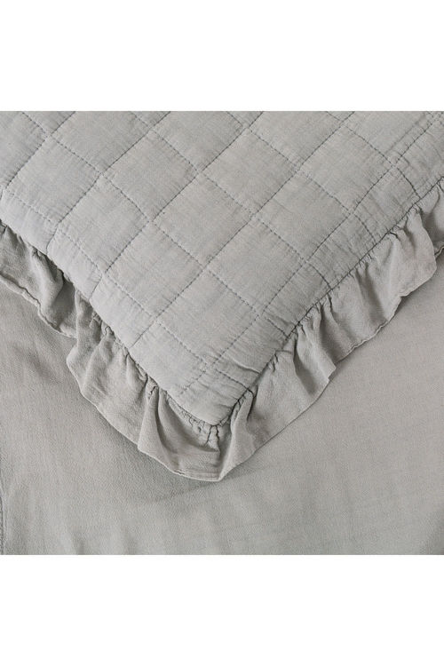 Dreamaker Premium Quilted Sand Wash Quilt Cover Set - Dove Grey