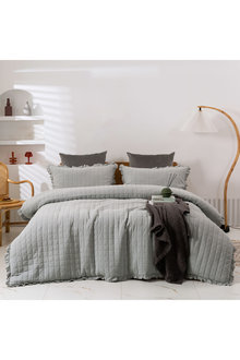 Dreamaker Premium Quilted Sand Wash Quilt Cover Set - Dove Grey - 310668