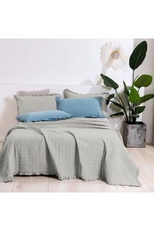 Dreamaker Premium Quilted Sand Wash Coverlet - Dove Grey - 310669
