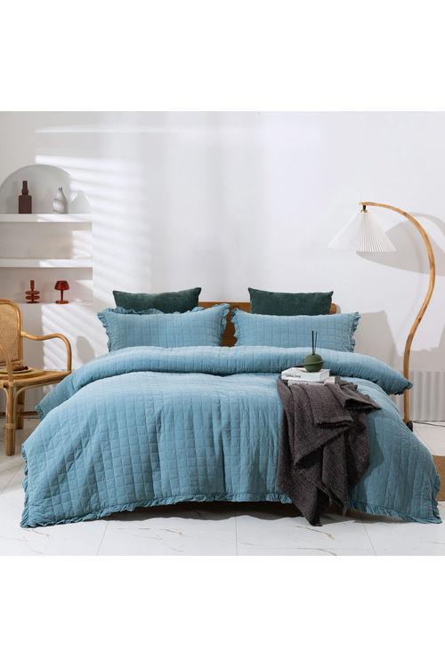 Dreamaker Premium Quilted Sandwash Quilt Cover Set - Dusty Blue
