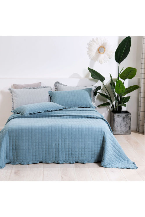 Dreamaker Premium Quilted Sand Wash Coverlet - Dusty Blue