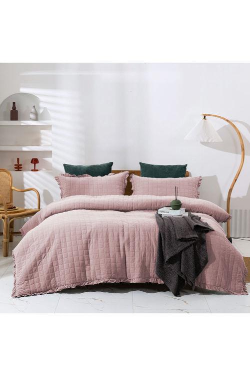 Dreamaker Premium Quilted Sandwash Quilt Cover Set - Dusty Pink