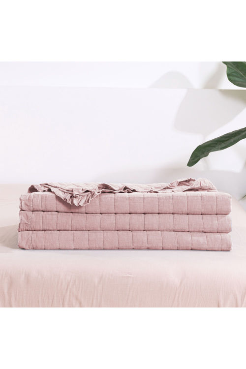 Dreamaker Premium Quilted Sand Wash Coverlet - Dusty Pink