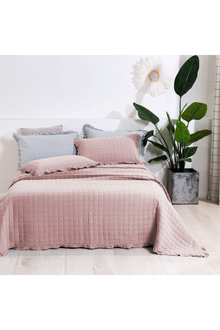 Dreamaker Premium Quilted Sand Wash Coverlet - Dusty Pink - 310673