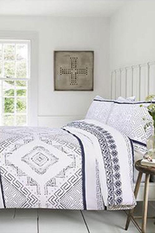 Amsons New Hampton Quilt Cover Set White Blue