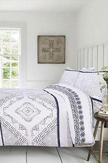 Amsons New Hampton Quilt Cover Set White Blue - 310731