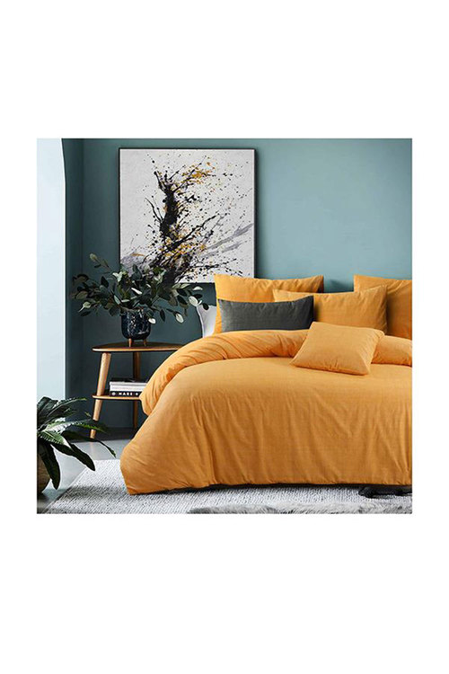 Amsons Quilt Cover Set Raw Amber Yellow