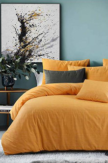 Amsons Quilt Cover Set Raw Amber Yellow - 310732