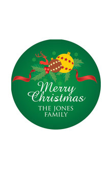 Personalised Christmas Green Bauble Coaster Set of 4 - 310869