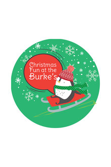 Personalised Christmas Penguin Coaster Set of 4 - 310873