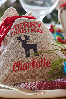Personalised Mini Vintage Christmas Sack - Reindeer Set of 4 - 310887